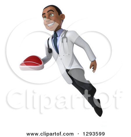 Clipart of a 3d Young Black Male Dietician Nutritionist Doctor Flying and Holding a Beef Steak 2 - Royalty Free Illustration by Julos