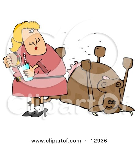 Woman Eating a Hamburger by a Dead Cow Clipart Illustration by djart
