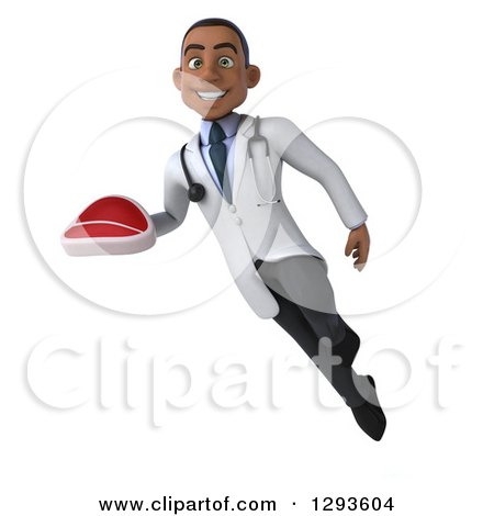 Clipart of a 3d Young Black Male Dietician Nutritionist Doctor Flying and Holding a Beef Steak - Royalty Free Illustration by Julos