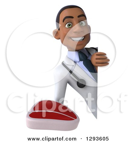 Clipart of a 3d Young Black Male Dietician Nutritionist Doctor Holding a Beef Steak Around a Sign - Royalty Free Illustration by Julos