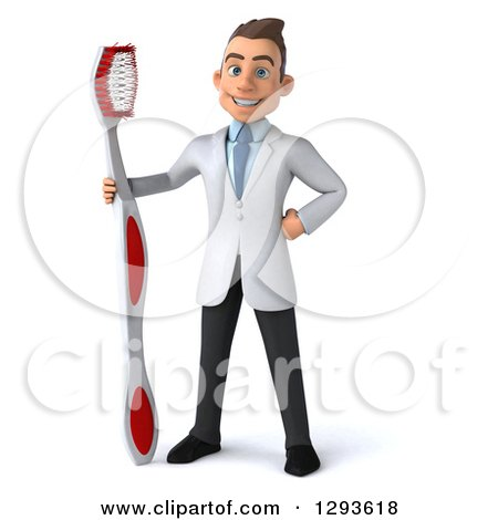 Clipart of a 3d Young Brunette White Male Dentist with a Giant Toothbrush - Royalty Free Illustration by Julos
