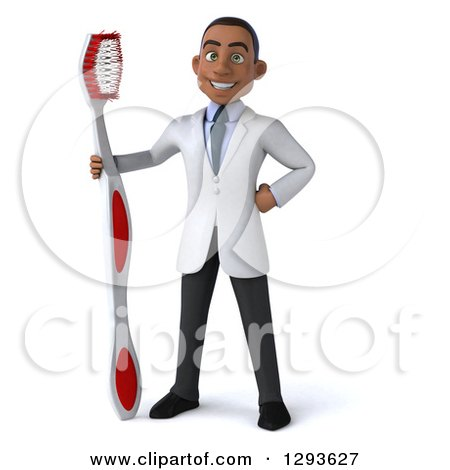 Clipart of a 3d Young Black Male Dentist with a Giant Toothbrush - Royalty Free Illustration by Julos