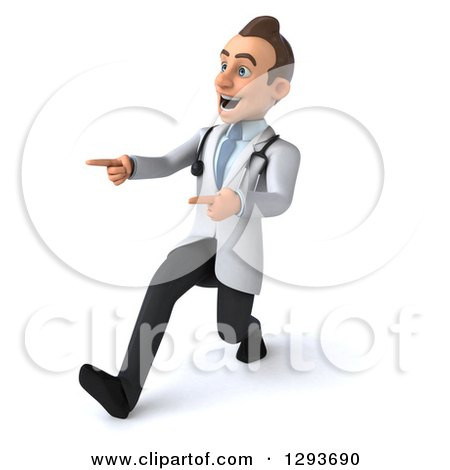 Clipart of a 3d Encouraging Young Brunette White Male Doctor Walking to the Left and Pointing - Royalty Free Illustration by Julos
