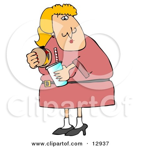 Fat Blond Woman Eating a Cheeseburger and Drinking a Soda Pop Clipart Illustration by djart
