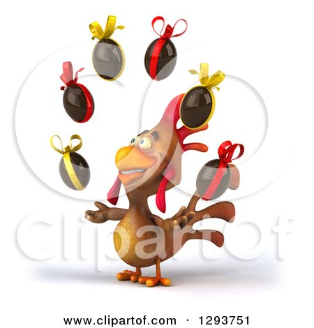 Clipart of a 3d Brown Chicken Facing Slightly Left and Juggling Chocolate Easter Eggs - Royalty Free Illustration by Julos