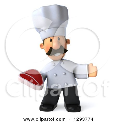 Clipart of a 3d Short Male Chef with a Mustache, Welcoming and Holding a Beef Steak - Royalty Free Illustration by Julos