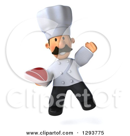 Clipart of a 3d Short Male Chef with a Mustache, Jumping and Holding a Beef Steak - Royalty Free Illustration by Julos