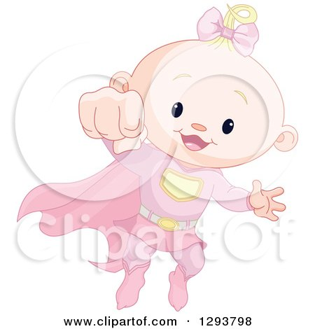 Clipart of a Cute Blond Caucasian Super Hero Baby Girl Flying - Royalty Free Vector Illustration by Pushkin