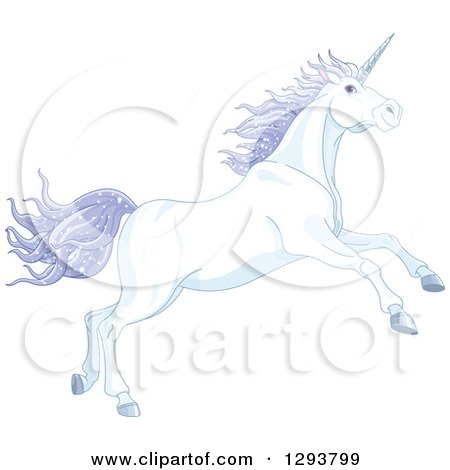 Clipart of a Magical Leaping White Unicorn with Sparkly Purple Hair - Royalty Free Vector Illustration by Pushkin