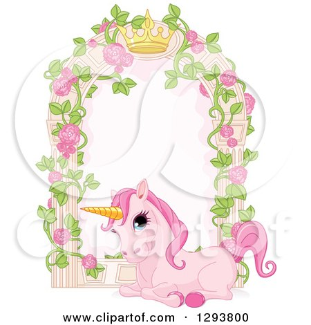 Clipart of a Cute Pink Unicorn Resting by a Rose Garden Arbor with a Crown - Royalty Free Vector Illustration by Pushkin