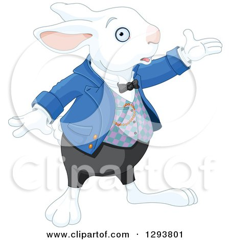 Clipart of a White Rabbit Presenting to the Right - Royalty Free Vector Illustration by Pushkin