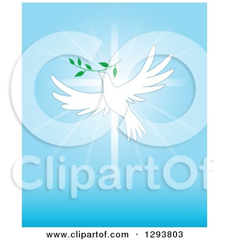 Clipart of a White Dove Flying with a Branch over a Cross and Blue Rays - Royalty Free Vector Illustration by Pushkin