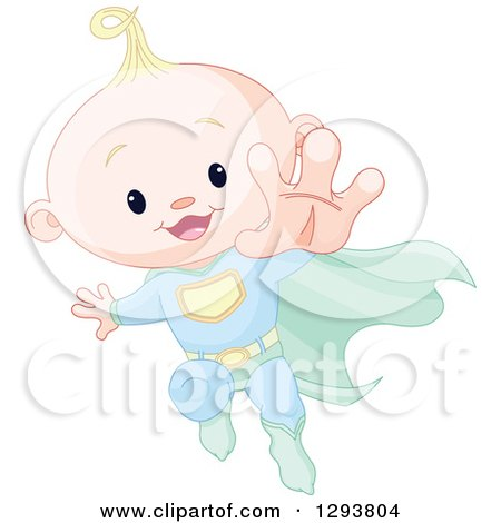 Clipart of a Cute Blond Caucasian Super Hero Baby Boy Flying - Royalty Free Vector Illustration by Pushkin