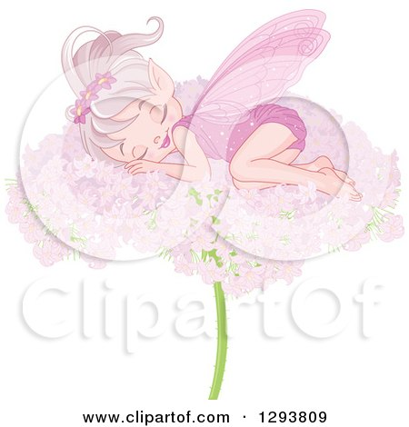 Clipart of a Happy Pink Fairy Sleeping on a Flower - Royalty Free Vector Illustration by Pushkin