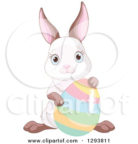 Clipart of a Cute Easter Bunny Posing with a Colorful Easter Egg - Royalty Free Vector Illustration by Pushkin