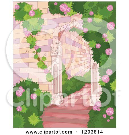 Clipart of a Castle Garden of Roses and Shrubs - Royalty Free Vector Illustration by Pushkin