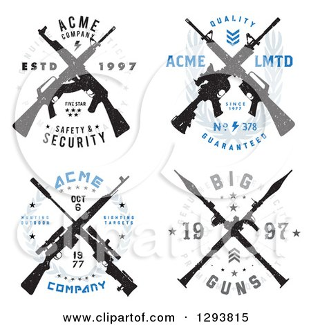 Clipart of Distressed Crossed Rifle Badge Designs with Sample Text - Royalty Free Vector Illustration by BestVector