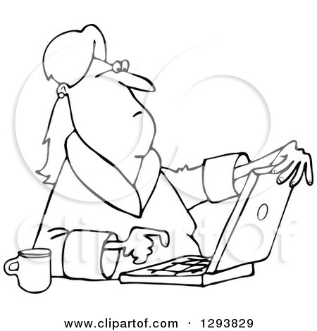 Lineart Clipart of a Black and White Woman in Her Robe, Sitting with Coffee and Using a Laptop Computer - Royalty Free Outline Vector Illustration by djart