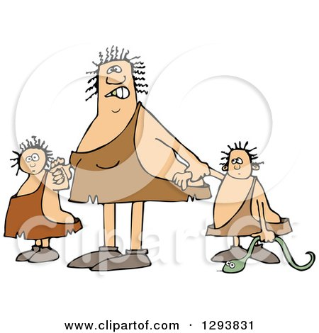 Clipart of a Mad Chubby Cavewoman Mom with Two Trouble Maker Children - Royalty Free Vector Illustration by djart