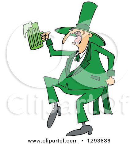 Clipart of a Drunk St Patricks Day Leprechaun Dancing with Green Beer - Royalty Free Vector Illustration by djart