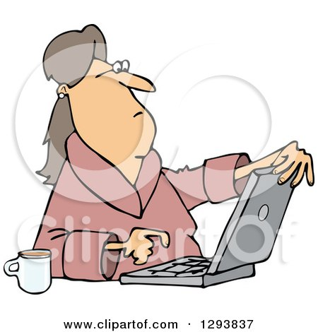 Clipart of a Caucasian Woman in Her Robe, Sitting with Coffee and Using a Laptop Computer - Royalty Free Vector Illustration by djart