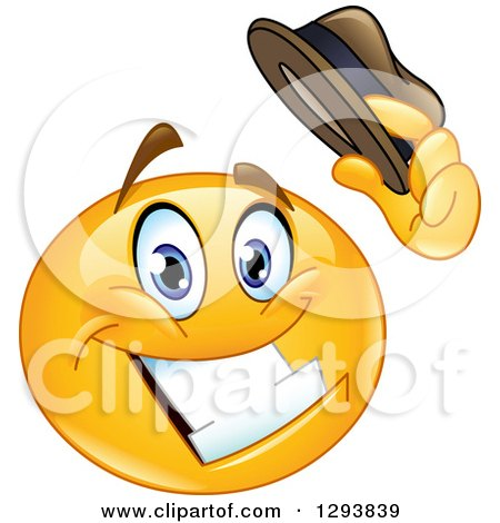 Clipart of a Grinning Yellow Smiley Emoticon Face Tipping His Hat - Royalty Free Vector Illustration by yayayoyo
