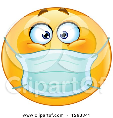 Clipart of a Yellow Smiley Emoticon Face Wearing a Medical Mask - Royalty Free Vector Illustration by yayayoyo