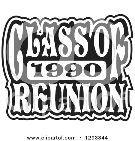 Clipart of a Black and White Class of 1990 High School Reunion Design - Royalty Free Vector Illustration by Johnny Sajem