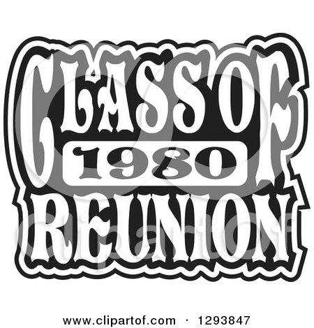 Clipart of a Black and White Class of 1980 High School Reunion Design - Royalty Free Vector Illustration by Johnny Sajem