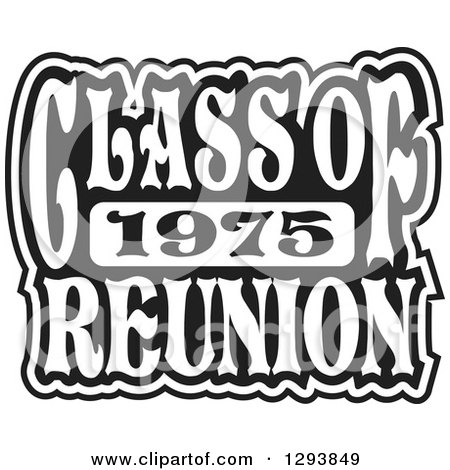 Clipart of a Black and White Class of 1975 High School Reunion Design - Royalty Free Vector Illustration by Johnny Sajem