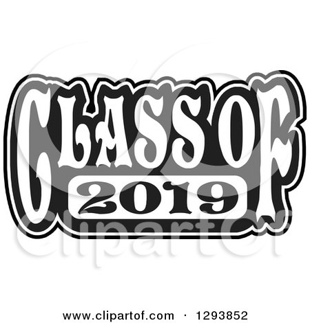 Clipart of a Black and White Class of 2019 High School Graduation Year - Royalty Free Vector Illustration by Johnny Sajem