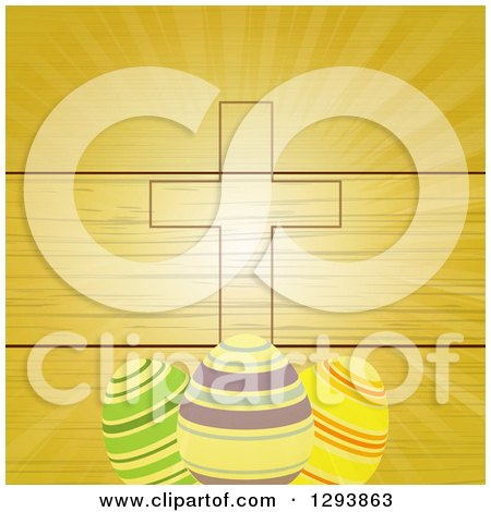 Clipart of a Wood Panel and Ray Background with an Easter Cross and Striped Easter Eggs - Royalty Free Vector Illustration by elaineitalia