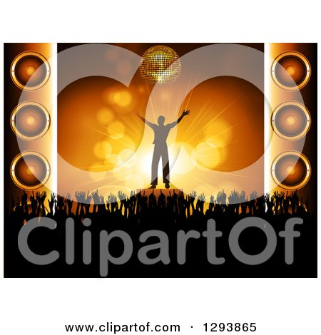 Clipart of a Silhouetted Male Musician Cheering Under a 3d Gold Disco Ball, with Hands of Concert Fans and Music Speakers - Royalty Free Vector Illustration by elaineitalia