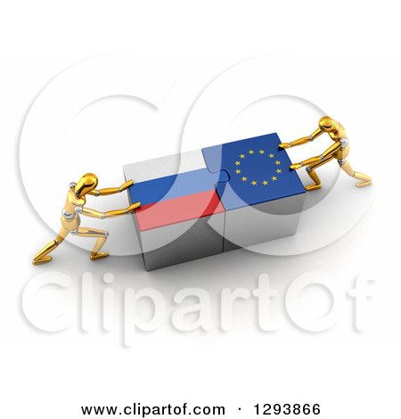 Clipart of 3d Gold Mannequins Successfully Connecting Russian and European Flag Puzzle Pieces Together - Royalty Free Illustration by stockillustrations