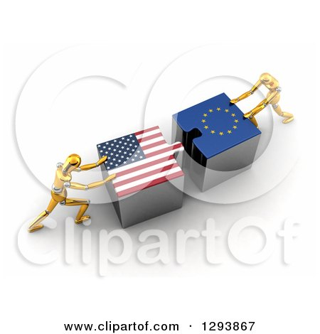 Clipart of 3d Gold Mannequins Pushing American and European Flag Puzzle Pieces Together to Find a Solution - Royalty Free Illustration by stockillustrations