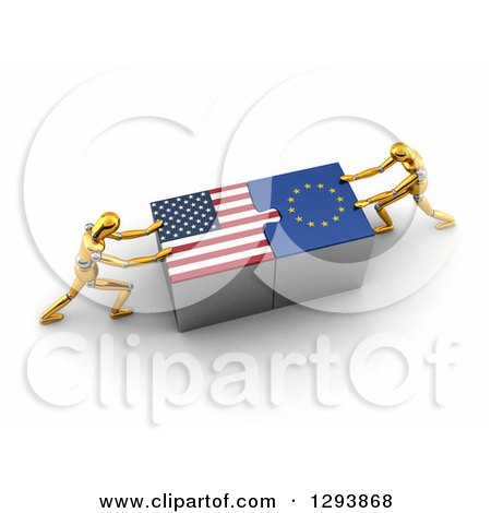 Clipart of 3d Gold Mannequins Successfully Connecting American and European Flag Puzzle Pieces Together - Royalty Free Illustration by stockillustrations