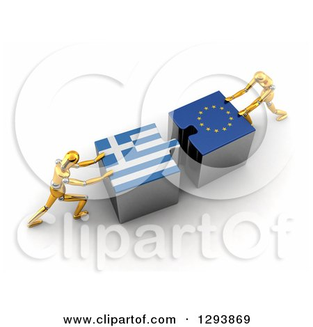 Clipart of 3d Gold Mannequins Pushing Greek and European Flag Puzzle Pieces Together to Find a Solution - Royalty Free Illustration by stockillustrations