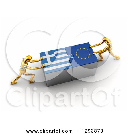 Clipart of 3d Gold Mannequins Successfully Connecting Greek and European Flag Puzzle Pieces Together - Royalty Free Illustration by stockillustrations