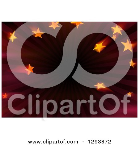 Clipart of a Background of Stars Being Sucked into a Tunnel of Dark Red - Royalty Free Vector Illustration by dero