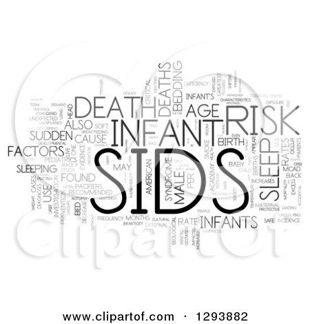 Clipart Of A Grayscale Sids Sudden Infant Death Syndrome Word Tag