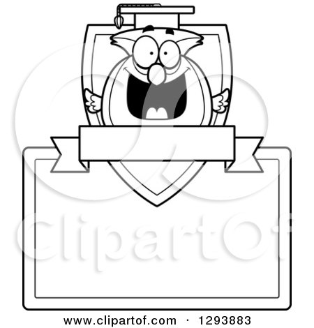 Clipart of a Badge or Label of a Black and White Happy Professor Owl over a Shield, Blank Sign and Banner - Royalty Free Vector Illustration by Cory Thoman