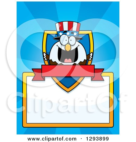 Clipart of a Badge or Label of a Patriotic American Blad Eagle Shield, Blank Sign and Banner over Blue Rays - Royalty Free Vector Illustration by Cory Thoman
