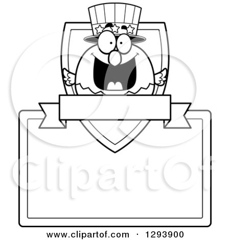 Clipart of a Badge or Label of a Patriotic Black and White American Blad Eagle Shield, Blank Sign and Banner - Royalty Free Vector Illustration by Cory Thoman