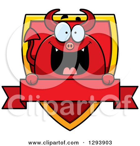 Clipart of a Badge or Label of a Happy Devil over a Shield and Blank Banner - Royalty Free Vector Illustration by Cory Thoman