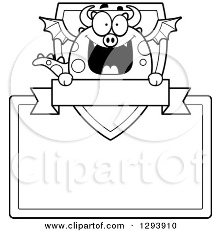 Clipart of a Badge or Label of a Black and White Happy Dragon with a Shield, Banner and Blank Sign - Royalty Free Vector Illustration by Cory Thoman