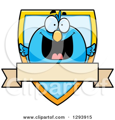 Clipart of a Badge or Label of a Happy Blue Bird over a Shield and Blank Banner - Royalty Free Vector Illustration by Cory Thoman