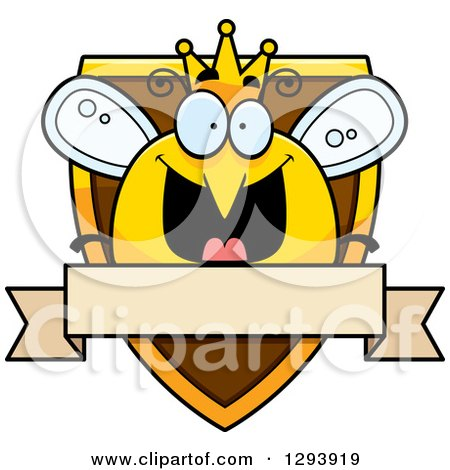 Clipart of a Badge or Label of a Happy Queen or King Bee over a Shield and Blank Banner - Royalty Free Vector Illustration by Cory Thoman