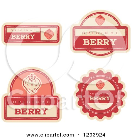 Clipart of a Set of Strawberry Fruit Flavor Labels - Royalty Free Vector Illustration by Cory Thoman