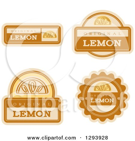 Clipart of a Set of Lemon Fruit Flavor Labels - Royalty Free Vector Illustration by Cory Thoman