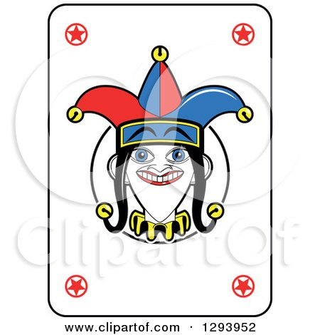 Clipart of a Grinning Joker Face Playing Card - Royalty Free Vector Illustration by Frisko